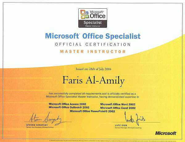 "Zertifikat ""Microsoft Office Specialist Master Instructor"" -  Kompetenz in Excel, Powerpoint, Word, Outlook und Access"
